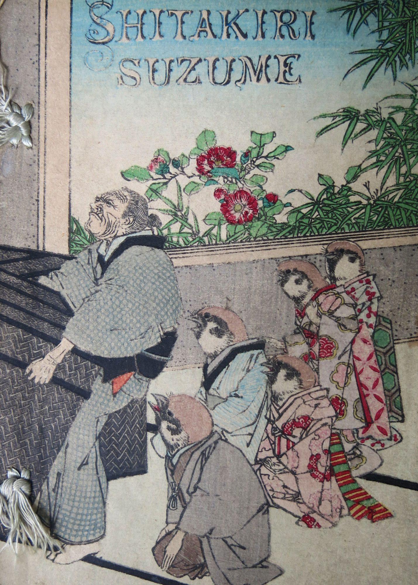 Shitakiri suzume, Le moineau qui avait la langue coupée. Traducteur : [Joseph] Dautremer. Illustrateur : 小林永濯Kobayashi Eitaku (Sansai)