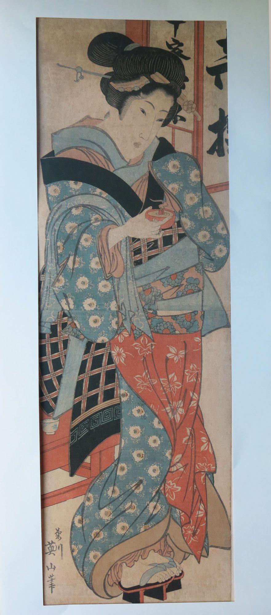 An extremely nice Kikugawa Eizan hashira-e shows an  Elegant woman c 1844s