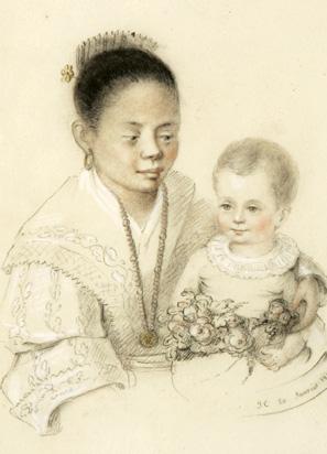Dessin au crayon aquarellé d'un enfant tenu dans les bras de sa nourrice philippine, monogrammé J. C. et daté du 20 janvier 1848