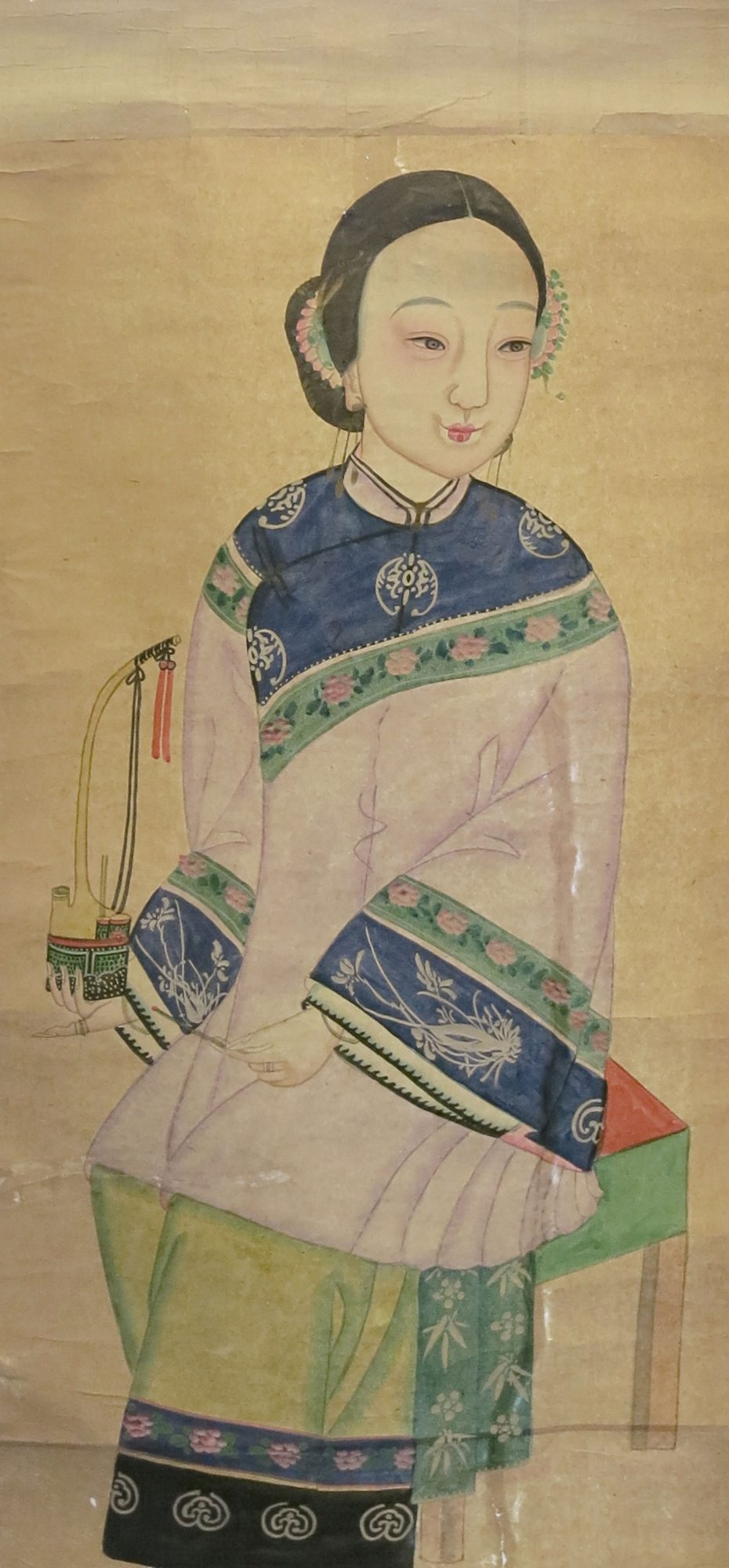 Watercolour depicting a Chinese lady holding a smoking pipe in both hands, mounted on scroll