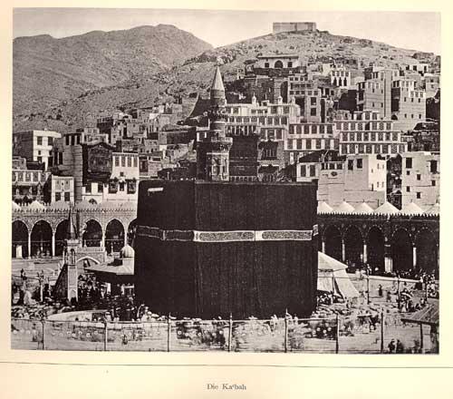Photoglyptie de la Ka'ba montée sur carton, tirée du Bilder-atlas zu Mekka, pl. III
