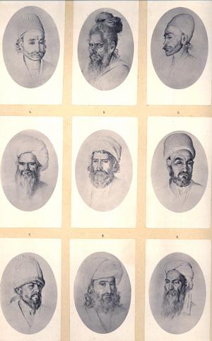 1 planche comportant 9 Photographie en médaillon de types indiens, afghans, persans et bohémiens, numérotés, légendés (en russe, allemand et français) et appliqués sur carton fort
