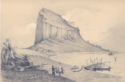 Gibraltar from the Neutral ground. Gravure à 2 teintes sur métal. Tinted lithograph engraved on metal