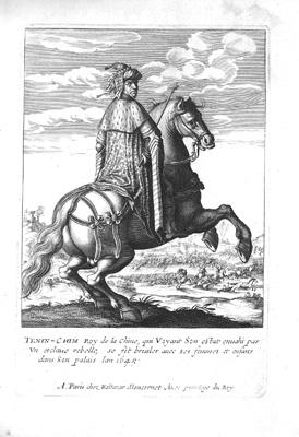 Teni-Chim Roy de la Chine, qui Voyant Son estat envahie par un esclave rebelle, se fit brusler avec ses femmes et enfants dans Son palais lan 1645